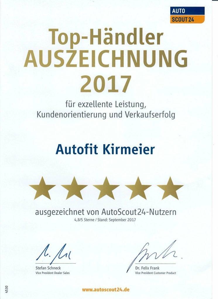 Erneut Top-Händler-Auszeichnung der autoscout24-Nutzer